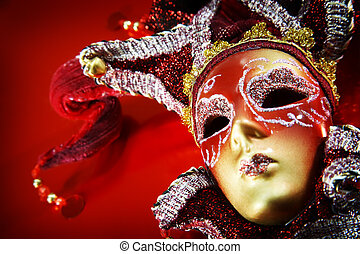 καρναβάλι , πάνω , μάσκα , φόντο. , διακοσμημένος , κόκκινο