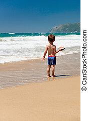 καρπούζι , αγόρι , μικρός , παραλία
