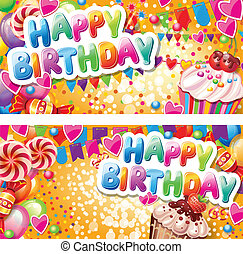 καρτέλλες, οριζόντιος, γενέθλια, ευτυχισμένος