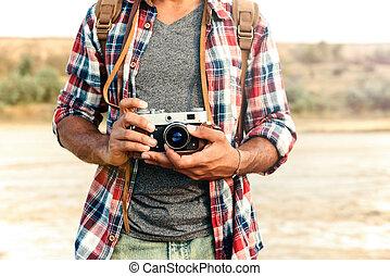 καρό ύφασμα , γριά , ποκάμισο , εποχή του τρύγου κάμερα , κράτημα , φωτογραφία ανήρ
