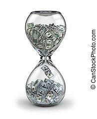 κατάθεση , ανάπτυξη , investment., dollar., hourglass., ή