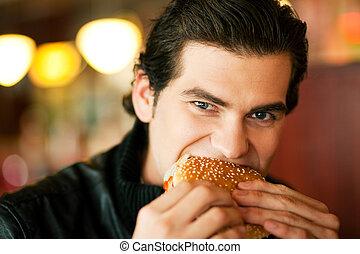 κατάλληλος για να φαγωθεί ωμός , άντραs , χάμπουργκερ , εστιατόριο