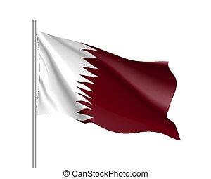 κατάρ , εθνική σημαία , εικόνα , ρεαλιστικός , μικροβιοφορέας