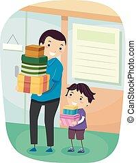 κατάστημα , αγόρι , stickman, πατέραs , εικόνα , κατάστημα , παιδί