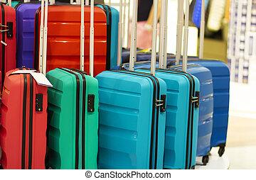 κατάστημα , αρπάζω , βαλίτσα , trips., αποσκευέs , πώληση , άνοιγμα. , store.