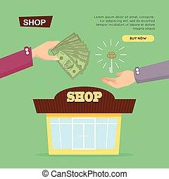κατάστημα , ιστός , banner., selling., online., ιδιοκτησία, περιουσία , εξαγορά