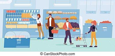 κατάστημα , καθημερινά , ψώνια , λαχανικά , οικογένεια , υπεραγορά
