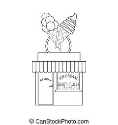κατάστημα , κρέμα , περίγραμμα , εικόνα , πάγοs