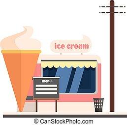 κατάστημα , πάγοs , μικροβιοφορέας , εικόνα , κρέμα , front.