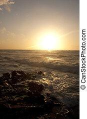 κατά την διάρκεια , γαλήνιος , καλιφόρνια , ακτογραμμή , ηλιοβασίλεμα