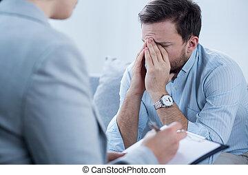 κατά την διάρκεια , ψυχοθεραπεία , κλαίων , άντραs