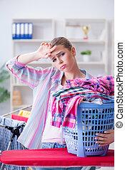 κατέθλιψα , μπουγάδα , νοικοκυρά , κουρασμένος