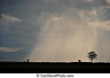 καταιγίδα , βροχή , και , χαλάζι