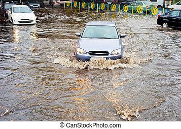 κατακλυσμός , δρόμοs , βροχή