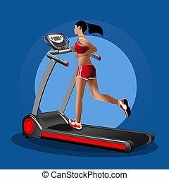 καταλληλότητα , ποδόμυλος , design., κορίτσι , τρέξιμο