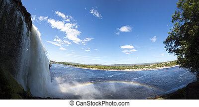 καταρράχτης , ουράνιο τόξο , λιμνοθάλασσα , βενεζουέλα , canaima
