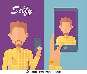 κατασκευή , selfie, άντραs , γένια