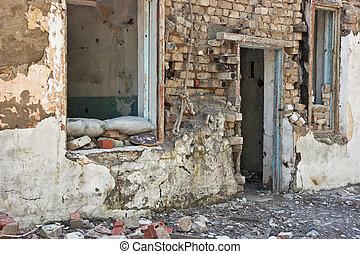 καταστραμμένος , σπίτι , γριά , εγκαταλειμμένος
