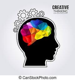 κατατομή , κεφάλι , γενική ιδέα , πολύγωνο , αγωνιστική κατάσταση , εσωτερικός , εις , δημιουργικός , εγκέφαλοs , mind., μαύρο , ανθρώπινος , γραμμή , cogwheels., style., vector.