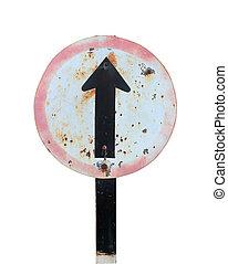 κατεύθυνση , ευθεία , απομονωμένος , σήμα , κυκλοφορία , φόντο , πηγαίνω , άσπρο
