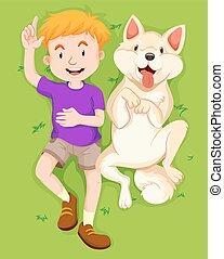 κατοικίδιο ζώο , αγόρι , πάρκο , σκύλοs