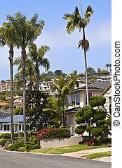 κατοικητικός , εμπορικός οίκος , επάνω , ένα , κλιτύς λόφου , california.