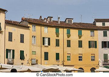 κατοικητικός , κτίρια , επάνω , ωάριο , αμφιθέατρο , τετράγωνο , μέσα , lucca , ital