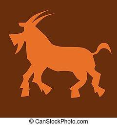 κατσίκα , illustration., κινέζα , σύμβολο , year., μικροβιοφορέας