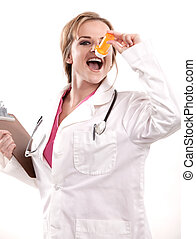 καυκάσιος , νοσοκόμα , ελκυστικός , γιατρός