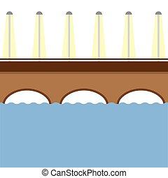 καφέ , γέφυρα , πάνω , ο , ποτάμι , vector.