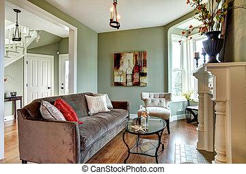 καφέ , δωμάτιο , ζούμε , καναπέs , floor., κομψός , ξύλο , πράσινο