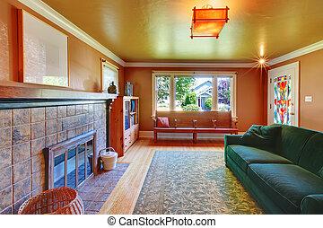 καφέ , δωμάτιο , ζούμε , sofa., μεγάλος , πράσινο , εστία , αναπαυτικός