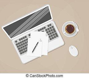 καφέ , καφέs , διαμέρισμα , κύπελο , γραφείο , ποντίκι , laptop , με γραμμές , εικόνα , board., μικροβιοφορέας , σχεδιάζω , χαρτιά , εφόδια , πένα , ηλεκτρονικός υπολογιστής