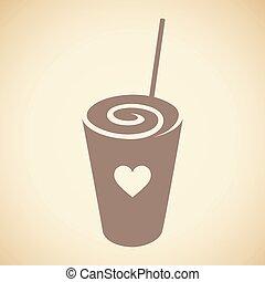 καφέ , frappuccino, καρδιά , swirly , απομονωμένος , εικόνα...