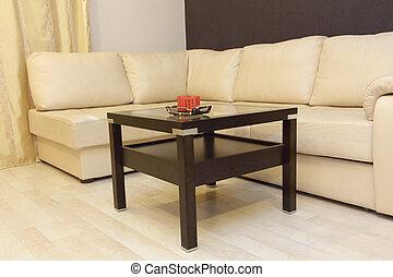 καφέs , αρτάνη καναπές , αναπαυτικός , γωνία , άσπρο , βάζω στο τραπέζι.