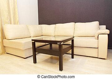 καφέs , αρτάνη καναπές , μοντέρνος , αναπαυτικός , γωνία , άσπρο , βάζω στο τραπέζι.