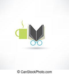 καφέs , βιβλίο , γυαλιά