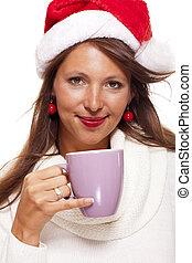 καφέs , γυναίκα , τσάι , νέος , αργοπίνω , santa , κρύο , καπέλο