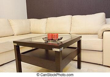 καφέs , δέρμα , sofa., αναπαυτικός , τραπέζι , γωνία , άσπρο