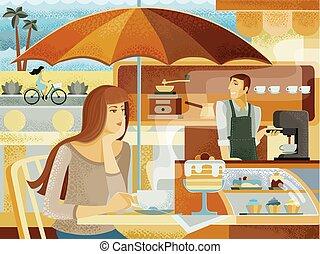 καφέs , ποδήλατο , borista, ανακατεύω , βαρύνω , καλοκαίρι , γυναίκα , φόντο , κέηκ , καλοκαίρι , καβαλλικεύω , κύπελο , ατάραχα , καφετέρια , μηχανή , αναπαύομαι