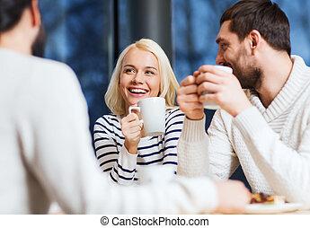 καφέs , τσάι , συνάντηση , πόσιμο , φίλοι , ή , ευτυχισμένος...