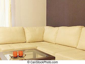 καφέs , clo , αρτάνη καναπές , αναπαυτικός , γωνία , ακολουθούμαι από , τραπέζι , άσπρο
