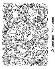 καφέs , illustration., γράφω άσκοπα , hand-drawn, μικροβιοφορέας , σχεδιάζω , τσάι , template.