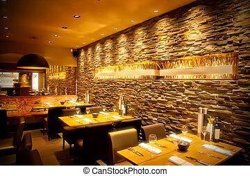 καφετέρια , με , πέτρινος τοίχος