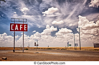 καφετέρια , σήμα , κατά μήκος , ιστορικός , δρόμος 66 , μέσα , texas.