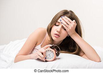 κειμένος , κρεβάτι , ομορφιά , ρολόι