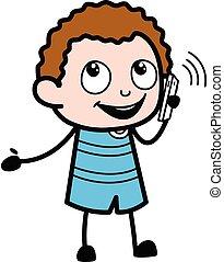 κελί , λόγια , παιδί , τηλέφωνο , γελοιογραφία