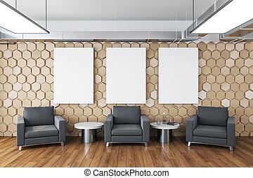 κενό , αναμονή , έδρα , τρία , δωμάτιο , αφίσα , wall., σύγχρονος