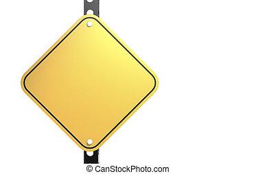 κενό , δρόμοs , απομονωμένος , σήμα , κίτρινο