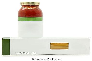 κενό , επιγραφή , βάζο , και , κουτί , από , speghetti, σάλτσα , και , λαζάνια